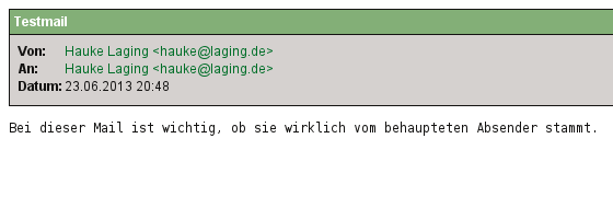 unsignierte Mail; KMail-Screenshot